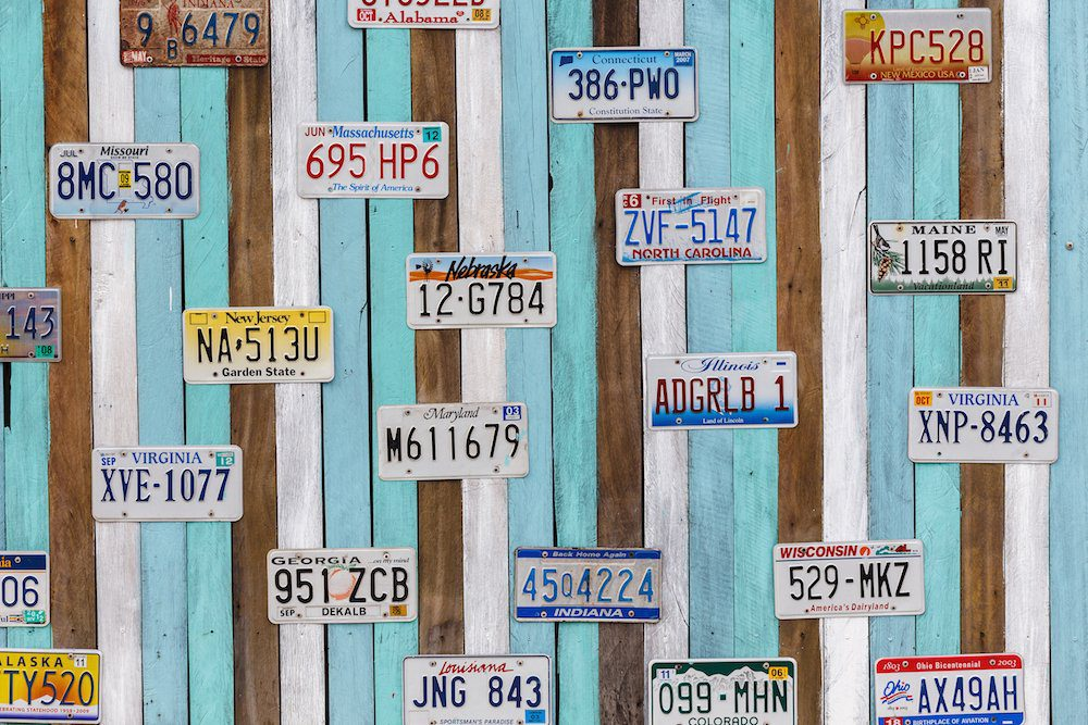 Wall of Registration Plates
