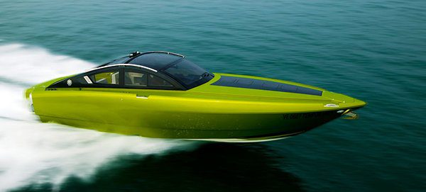 Green speed boat