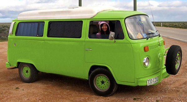 Lime green Volkswagen Kombie Van